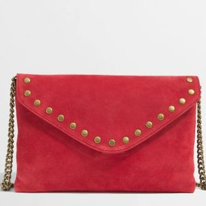 J. Crew Factory Red Suede Leather purse bag